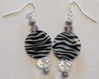 Zebra Print Dangle Earrings - Zebra Earrings - Homemade Earrings - Homemade Jewelry