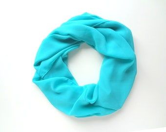 Turquoise Scarf, Blue Infinity Scarf, Summer Scarf, Chiffon Scarf, Fashion Scarf, Gift For Her, Aqua