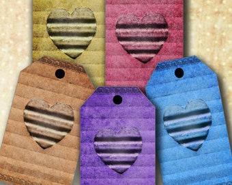Digital Download - Corrugated Cardboard Heart Hang Tags