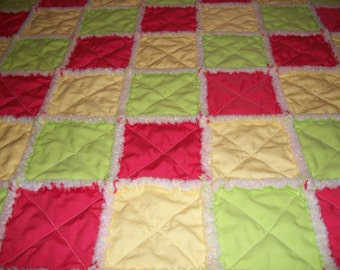 Childs Ragged Quilt, Girls Ragged Quilt, Homemade Ragged Quilt, Ragged Throw, Birthday Gift