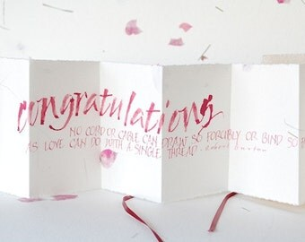 Congratulations, Luxury wedding card, engagement, pink petal paper, accordion book, concertina card, calligraphy, uk, for men, for women