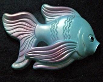 1969 Miller Studio Blue and Pink Chalkware Fish
