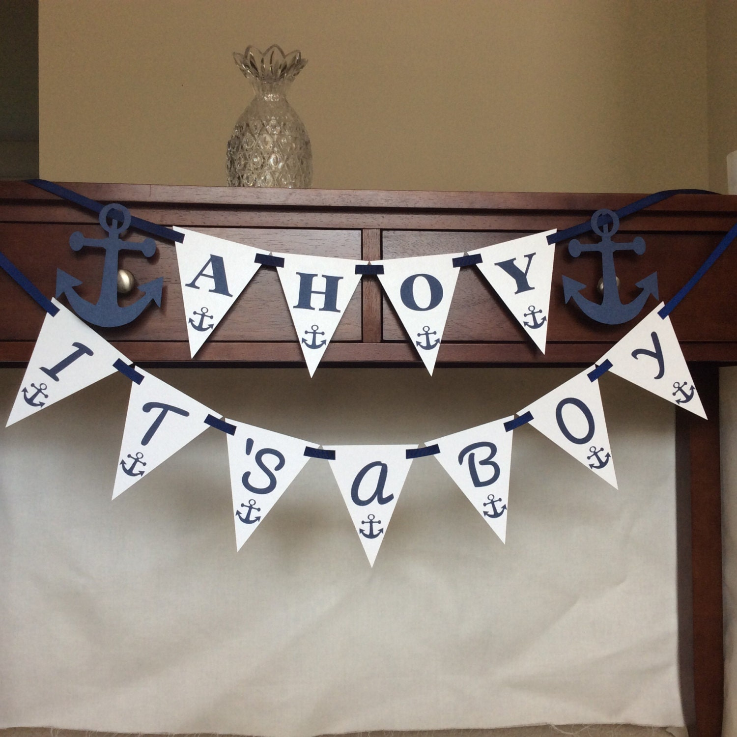Ahoy It S A Boy Baby Shower Banner Nautical Theme Baby