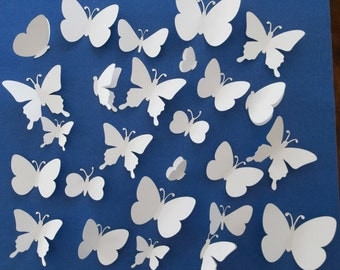 3D Butterflies wall decoration - Butterfly decoration - 25 pieces