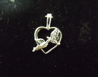 Sterling Silver Heart with Love Birds Pendant  - .925  1.5 grams