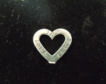 Sterling Silver Affrimation Trio Heart Joy, Love, Peace Charm/Pendant - .925 2.6 grams