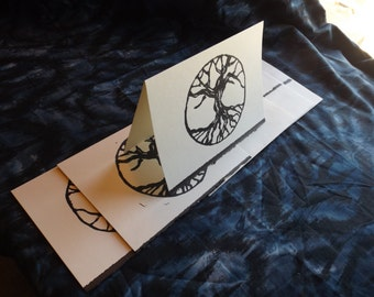 Set of six tree of Life hand printed monoprint cards