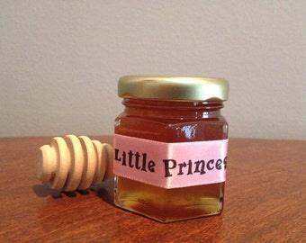 Little Princess,Mini Honey Jars Favors, Baby Shower Favor,Tea Party,Bris Favor with Dipper