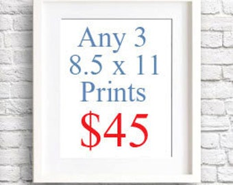 Choose Any Three (3) 8.5 x 11 Art Prints - Your Choice - Mix and Match - Wall Decor - Abstract Watercolor Painting