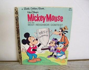 Mickey Mouse Best Neighbor Contest Little Golden Book Walt Disney 1981 No 10033