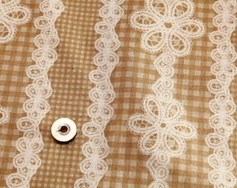 Yellow and white kawaii Japanese cotton/linen fabric 110x100cm, lace gingham