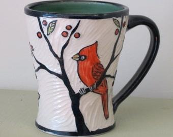 Large Sgraffito Carved Porcelain Mug with Cardinals