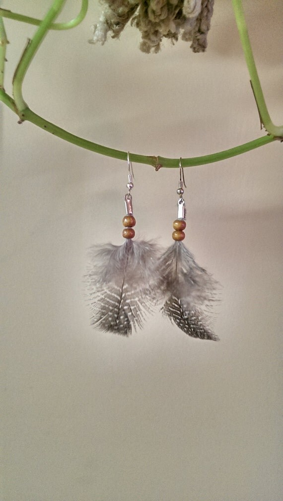 Feather earrings native american made authentic tribal for Native american feather jewelry