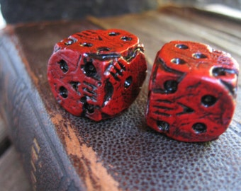 Hand cast red skull dice, oogie boogie dice, nightmare movie dice, dice collector gift, collectable dice, gaming dice, movie lovers gift
