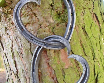 Entwined Heart-Shaped Horseshoes, 'Unicorn Shoes'; Blacksmith Forged by GILL & SON: Ideal for weddings, anniversaries, or just to show love.
