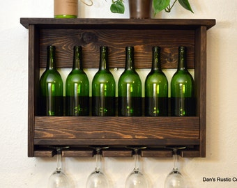 Rustic Wine Rack 6 Bottle 4 Glass Holder Wall Bar Liquor