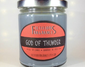 God of Thunder -- Thor and Avengers Inspired 8 oz Scented Soy Candle