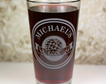 Personalized Pint Glass with Hops rays in double circle. Homebrew, Beer, Beer Gift, Craft Brew, Brew Art, Brewing,Beer Glass,Beer Gift, Beer