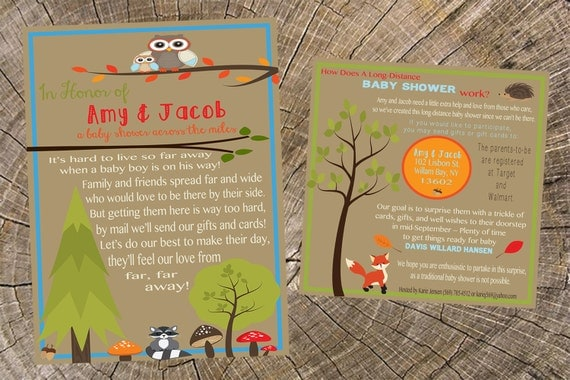 baby boy long distance baby shower 5x7 invitation and 5x5 insert card