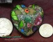 Sale Item 25% off Sea Sediment Jasper and Pyrite Heart Stone Pendant (50108) Rainbow