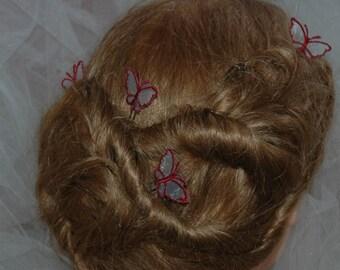 Peak bun Burgundy organza Butterfly bridal wedding hair pin