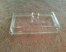 LAST CHANCE SALE!! Vintage Glass Mckee Westinghouse Refrigerator Dish Lid Rectangular with Knob