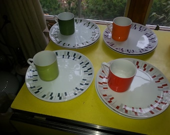 Vintage Colorful Set of 15 Japan Fine China Atomic Dish Snack and Cup Set GREAT!