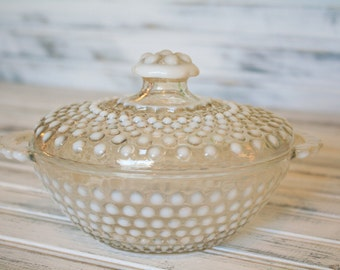 Anchor Hocking Moonstone Opalescent Hobnail Covered Candy Dish - 1940's