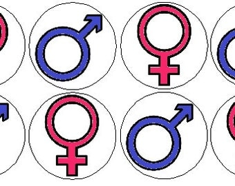 "Pack of 12 Blue Pink Male Female Symbols Gender Reveal Girl Boy Baby Shower Party Favors 1.25"" Pinback Buttons Badges Pins OR Magnets 292"