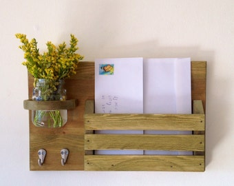 Beautiful wooden mail organizer with key hanger and jar for flowers