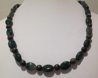 Necklace.  Moss Agate 14x15mm ovals. Followed by  8mm roundgemstone beads