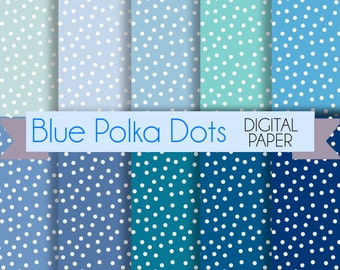 Blue Polka dots Digital Paper set  - 10 blue Digital Backgrounds - for Crafts, Invitations, Digital Scrapbooking. Instant download