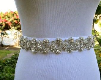 BRIDAL SASH - White Satin sash with rhinestone crystal embelishment