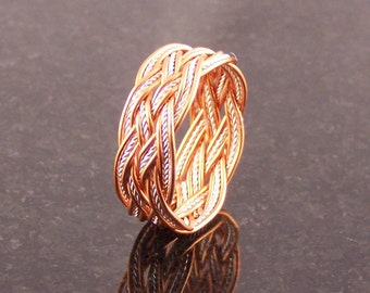 Celtic Knot Doubled Copper Wire with Sterling Silver Wire Rope Turks Head Ring