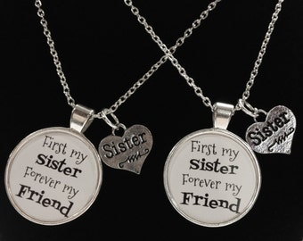 2 Necklaces First My Sister Forever My Friend Sisters Quote Best Friend Forever BFF Necklace Set