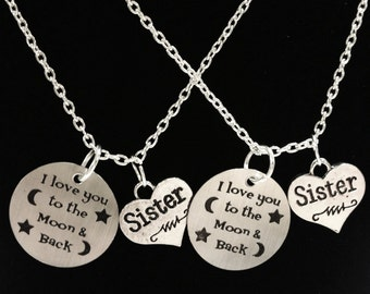 2 Necklaces I Love You To The Moon & Back Sisters Friends Set