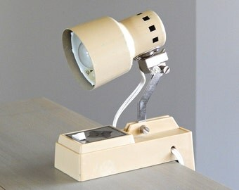 R E D U C E D | Small Clamp Desk Lamp, Vintage Desk Lamp, Small Artists Lamp, Vintage Task Lamp, Cream Colored Lamp, Working Condition