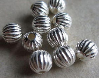 20 sterling silver 5mm corrugated round beads