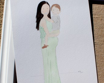 Family of Two - Custom Watercolor Portrait