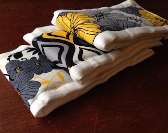 SALE Burp Cloths yellow and gray