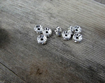 8mm Crystal Spacer With Rondelle Rhinestone