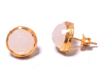 Earring 925 sterling silver earring Pink Chalcedony , Gold vermeil bridal jewelry