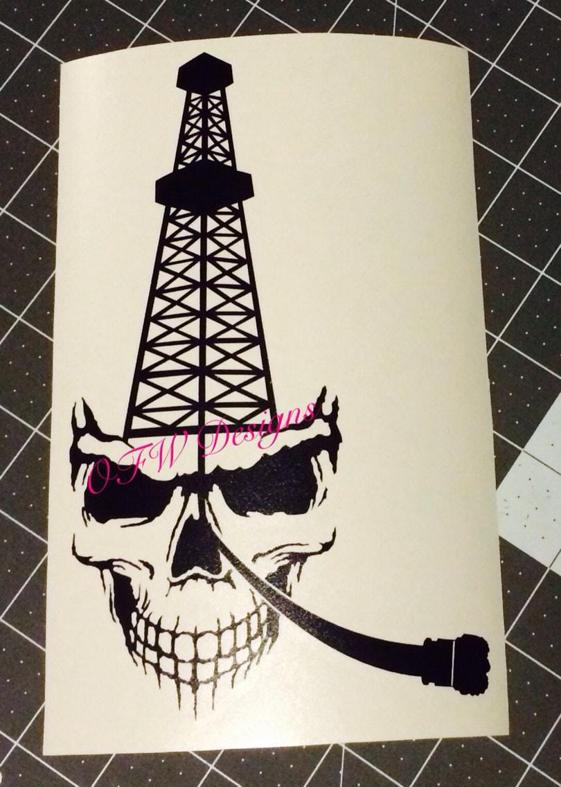 skull oil rig derrick with bit window decal. Black Bedroom Furniture Sets. Home Design Ideas