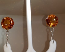Citrine Fancy Octagon Cut Drop Earrings in Sterling Silver with triangle shaped faceting