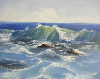 Seascape painting Ocean waves ORIGINAL oil painting, 20*16 inches Oil on canvas, rocks blue water beach fine art by Nadia Gurkova