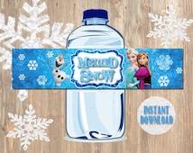 Frozen Bottle Labels - Disney Frozen Water Bottle Labels - Birthday Party Printable Label of Elsa, Anna, Olaf Decorations Ideas, Party Favor