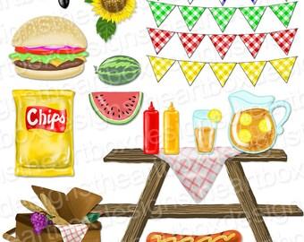 Picnic Clipart, Summer Picnic Food Clipart, Gingham Bunting Banners, Hamburger + Hot Dog + Watermelon Clipart + Gingham Background Clipart