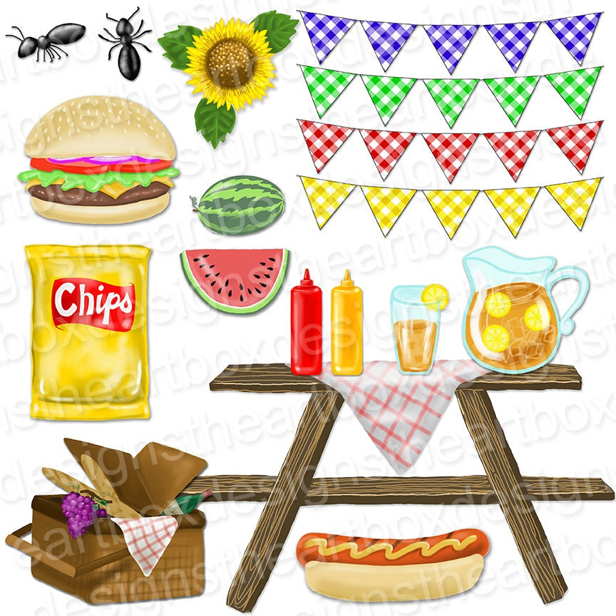 Picnic Clipart, Summer Picnic Food Clipart, Gingham ...