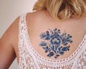 Delft Blue floral temporary tattoo / Delft blue temporary tattoo / vintage temporary tattoo / bohemian temporary tattoo / boho gift idea