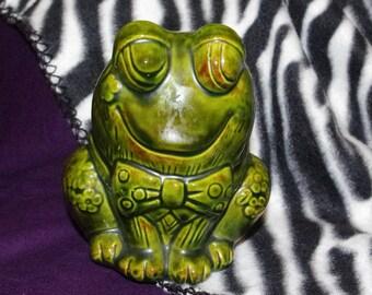 Vintage Green Frog Coin Bank
